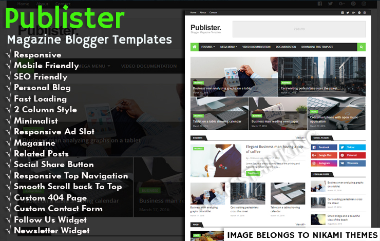 Publister Magazine Pro Blogger Template - Responsive Blogger Template