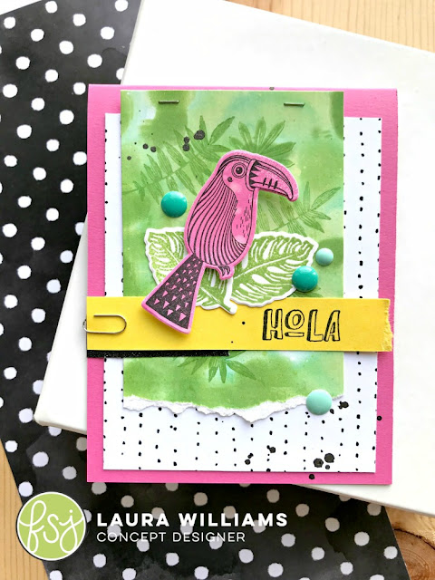 create a handmade card with Gel Press prints as a base for stamping on, and to create a background. Created by Laura Williams, featuring new stamps from Fun Stampers Journey. #lauralooloo #funstampersjourney #handmadecards #mixedmedia #gelpress