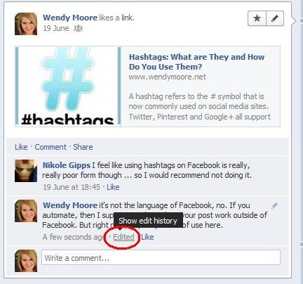 how to edit a comment on facebook timeline