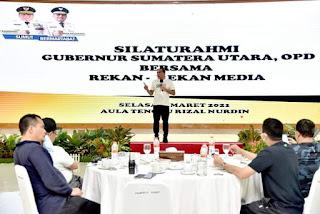 Silaturahmi dengan Insan Pers, Gubernur Edy Harapkan dapat Meningkatkan Sinergi Media dengan Pemerintah