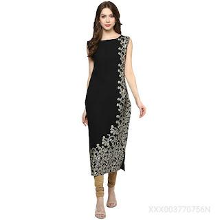 Ziyaa women's black foil print crepe straight kurti