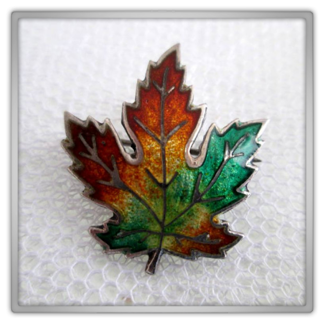 Sterling Silver Enamel Maple Leaf Pin