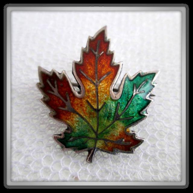 Sterling Silver Enamel Maple Leaf Pin
