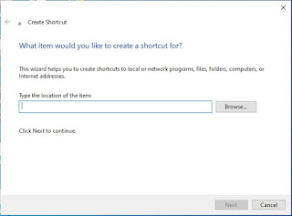 Shortcut Dialog box