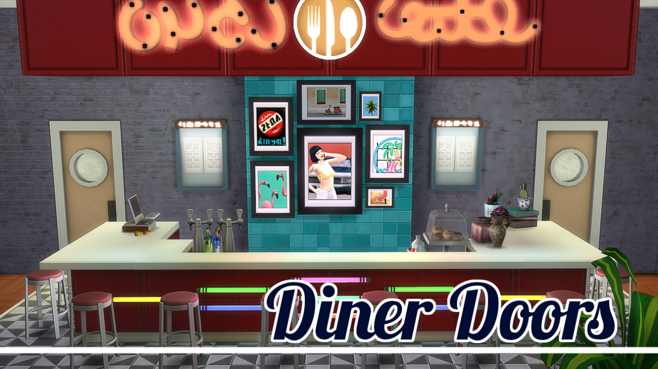 Diner Door Recolors by JoolsSimming & My Sims 4 Blog: Diner Door Recolors by JoolsSimming