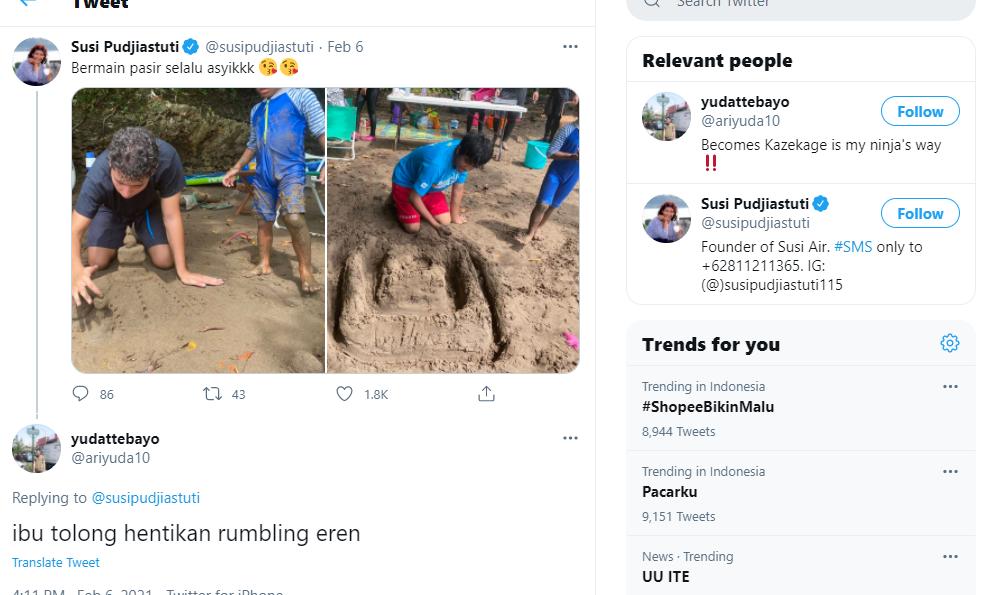 Netizen minta ibu susi hentikan rumbling eren