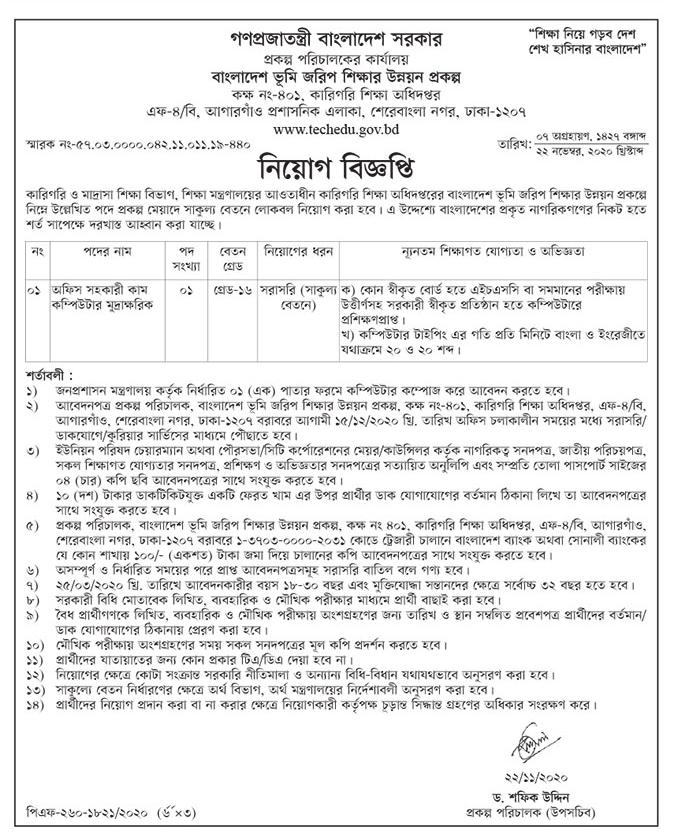 Directorate of Technical Education Job Circular 2020