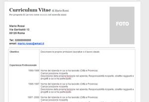 Curriculum Vitae Curriculum Cronologico Modello Da Compilare E