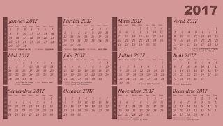 Calendrier 2017 à imprimer gratuitement