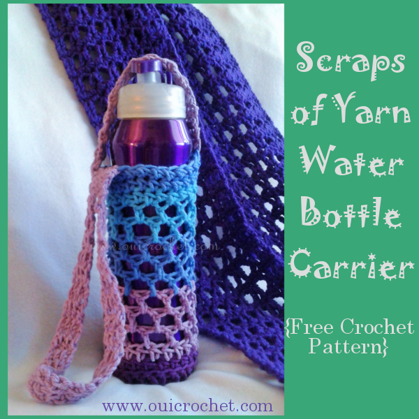 #OuiCrochet, Crochet, Crochet Accessories, Crochet Gifts, Crochet Water Bottle Carrier, Free Crochet Pattern, Water Bottle Holder