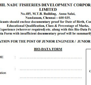 Tamilnadu Fisheries Development Corporation Ltd (TNFDC) recruitments (www.tngovernmentjobs.in)