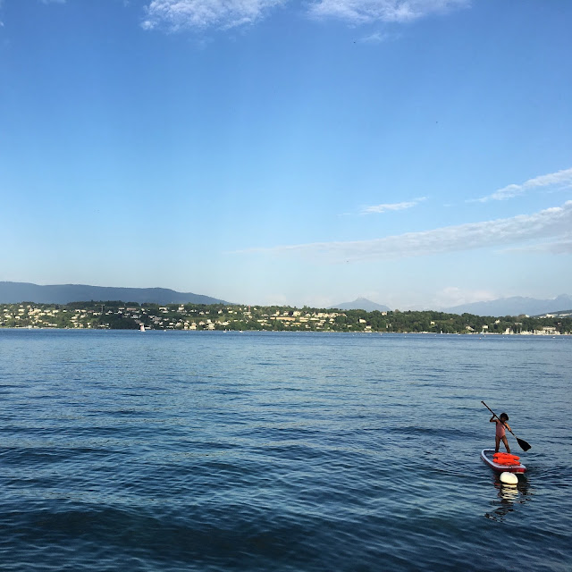 Paddle boarding on Lac Léman/Lake Geneva in Geneva, Switzerland