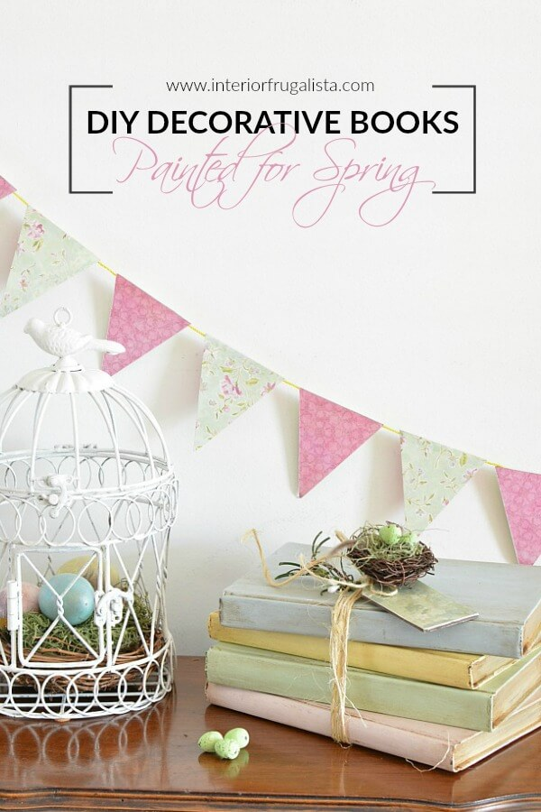 DIY Decorative Books Painted For Spring