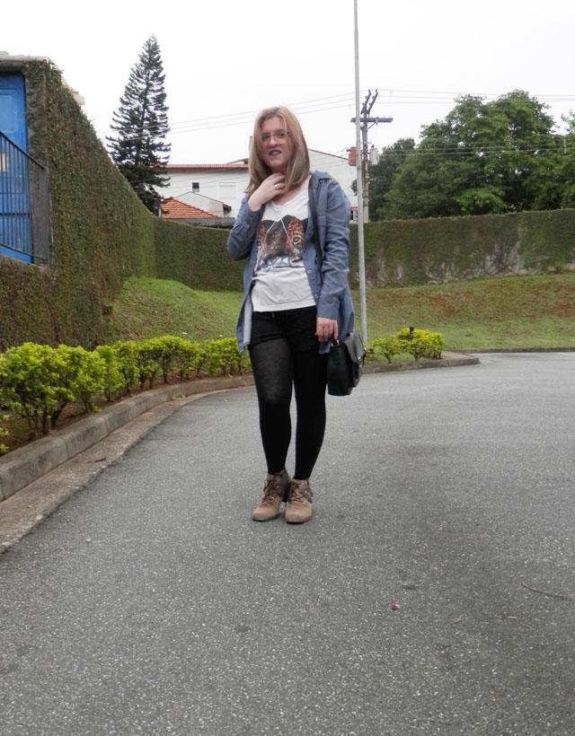 Look: Shorts boxer com parka jeans