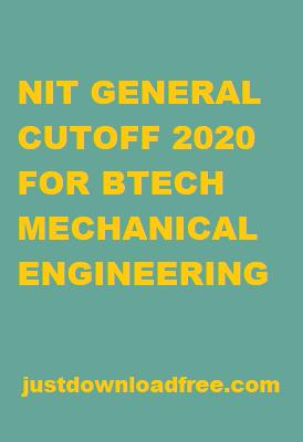 NITs GENERAL CUTOFF 2020 FOR MECHANICAL