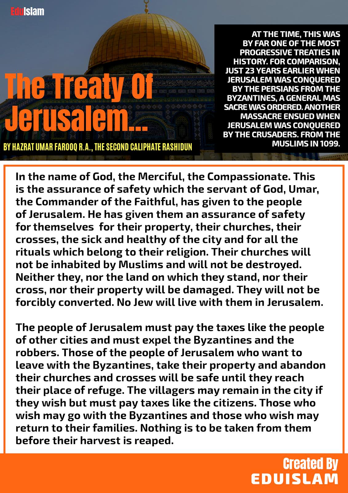Treaty Of Jerusalem by Umar Farooq R.A., History of Al-Aqsa Mosque, Jerusalem History, Hazrat Umar ibn al-Khattab Treaty, Lost Islamic History