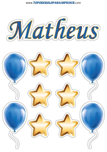 topo de bolo nome matheus para imprimir