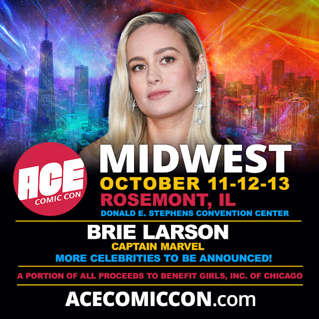 Brie Larson (Captain Marvel) will headline ACE Comic Con Midwest at the Donald E. Stephens Convention Center in Rosemont, Ill., on Oct. 11-12-13, 2019