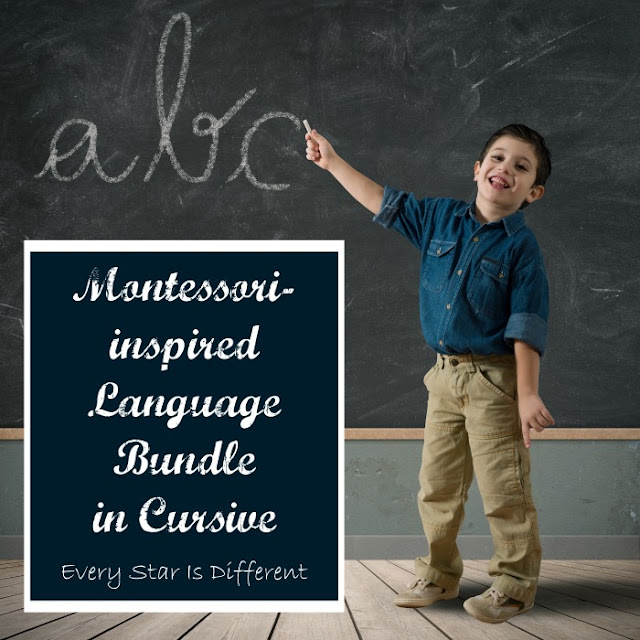 Montessori-inspired Language Bundle in Cursive from Every Star Is Different
