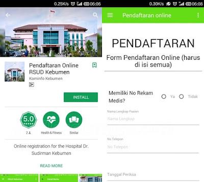 Aplikasi Registrasi online RSUD Dr Soedirman Kebumen