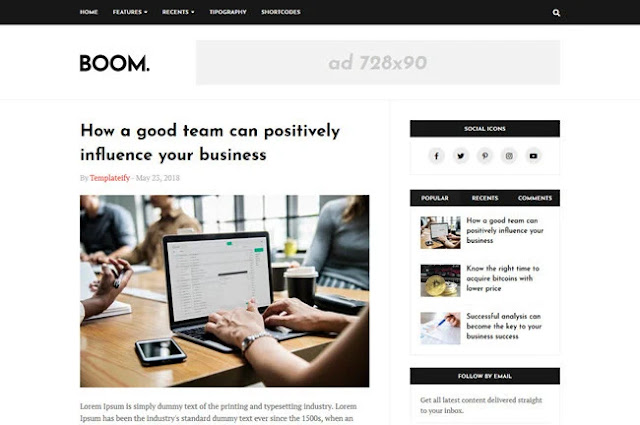 Boom Premium blogger template download best blogger templates