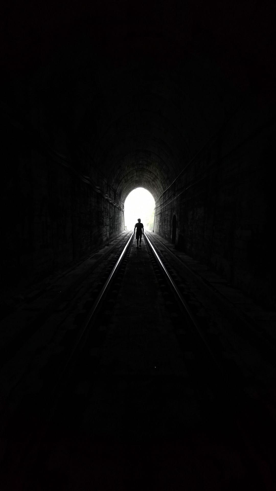 Wallpaper Alone Man Silhouette Dark Tunnel