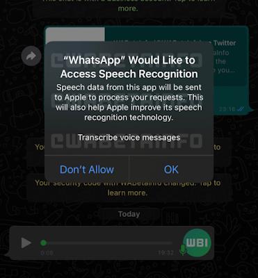 قد يحصل واتساب قريبًا على ميزة نسخ الرسائل الصوتية على iOS