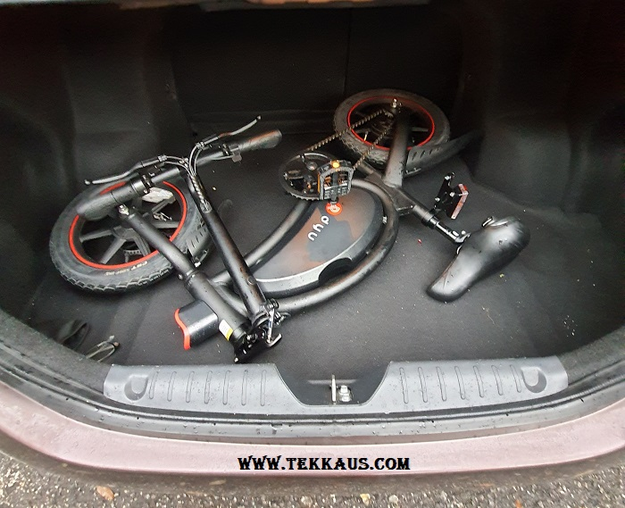 How to fold DYU D3+ Electric Bike Into the car boot bonnet