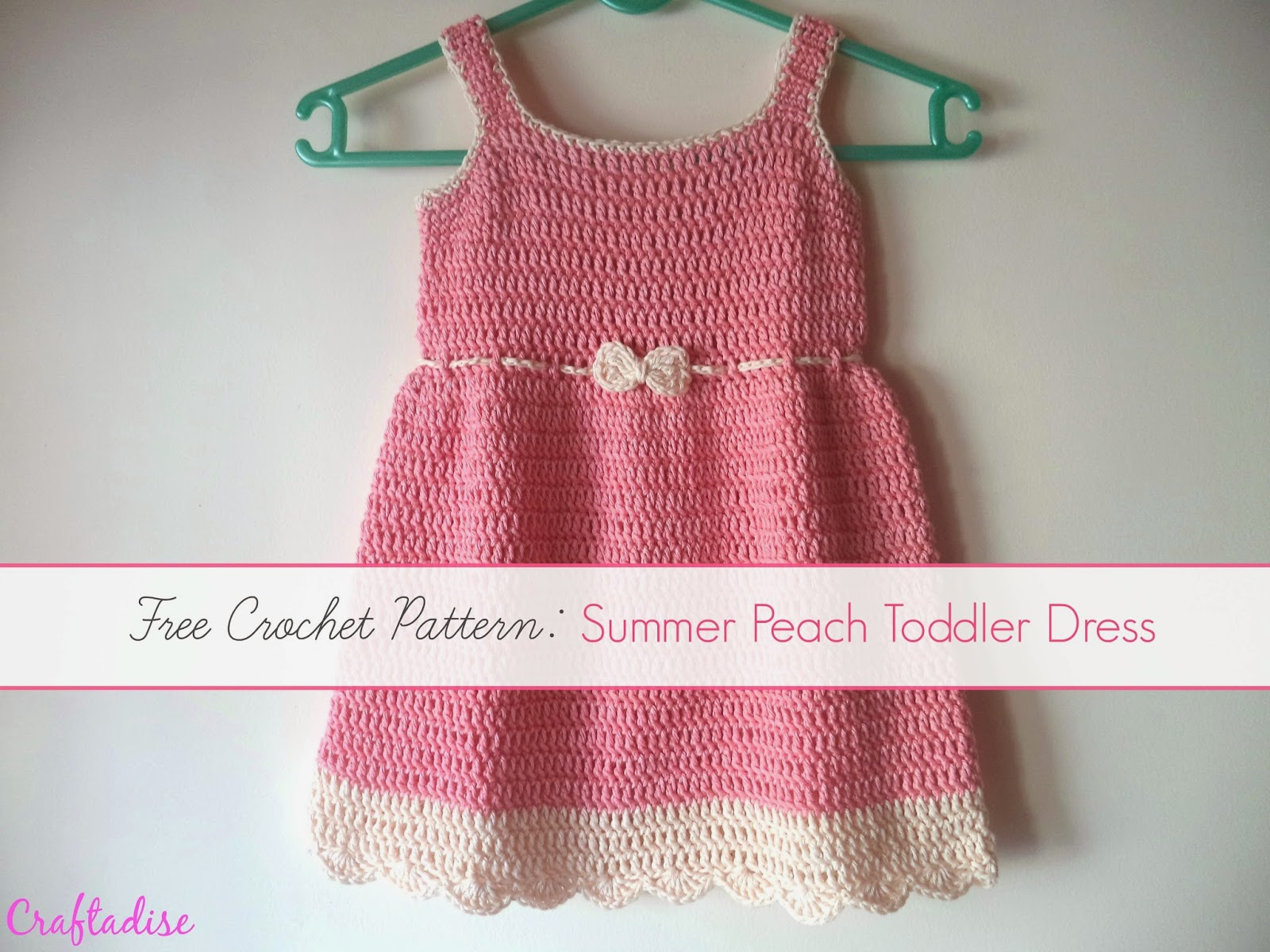 Free Crochet Pattern: Crochet Summer Peach Toddler Dress