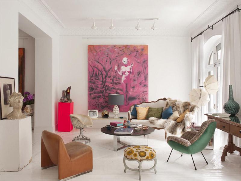 Ecl ctico bohemio y casual un piso en madrid ministry of deco - Deco lounge huis schilderen ...