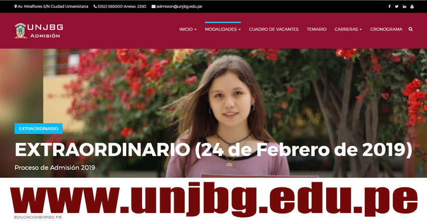Resultados Admisión UNJBG 2019 (24 Febrero) Ingresantes Examen Extraordinario Universidad Nacional Jorge Basadre Grohmann - www.unjbg.edu.pe