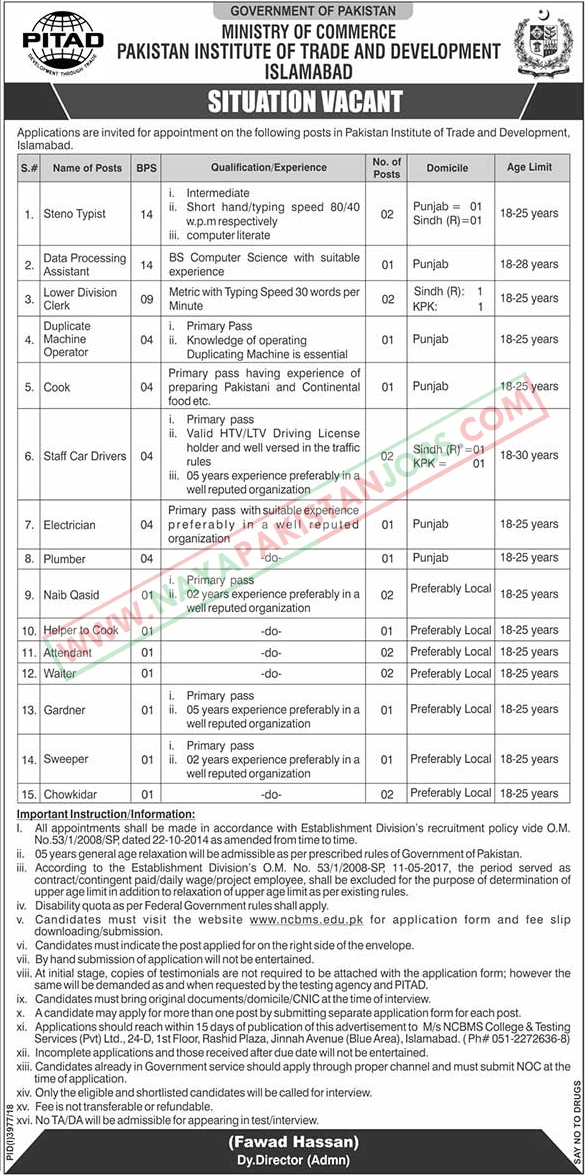 PITAD Jobs, Ministry Of Commerce Jobs 2019 Feb | PITAD Jobs Govt of Pakistan