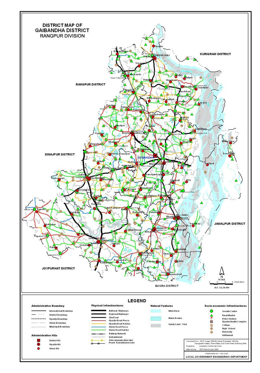 Gaibandha District Map Bangladesh