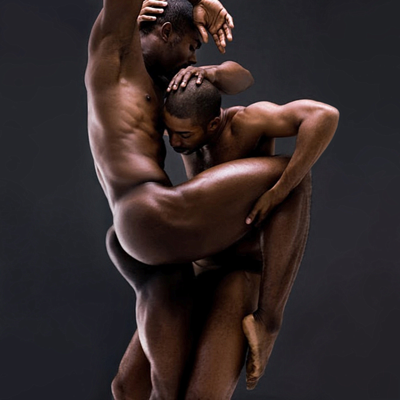 Naked black men spoon