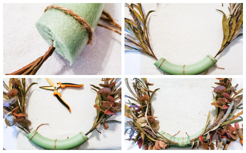 add stems to foam wreath base, using glue and wire as needed