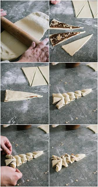 Goûter de Noël: sapins briochés à la pâte à tartiner