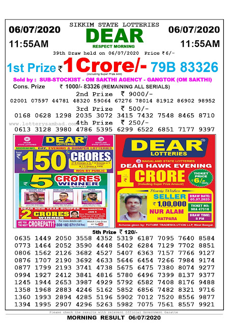 Sikkim State Lottery Sambad 06-07-2020 Today Result 11.55 AM