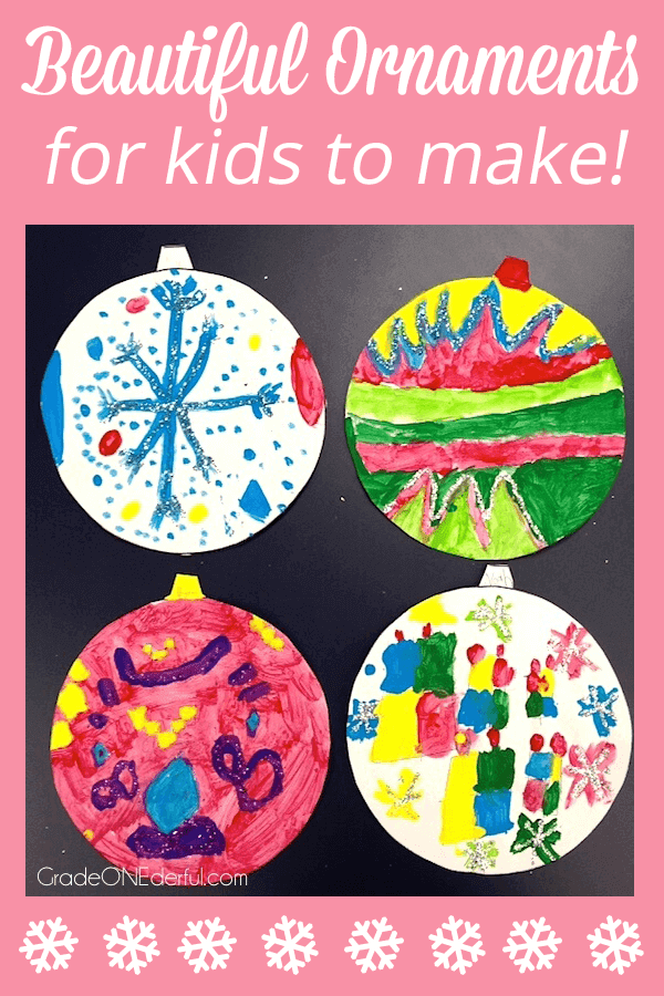Easy Christmas Art Activity with a Free Template. A beautiful and easy art project for young kids: a painted, glittery ornament. PLUS the free template. #gradeonederful #christmas #christmasartforkids #christmasornamentart