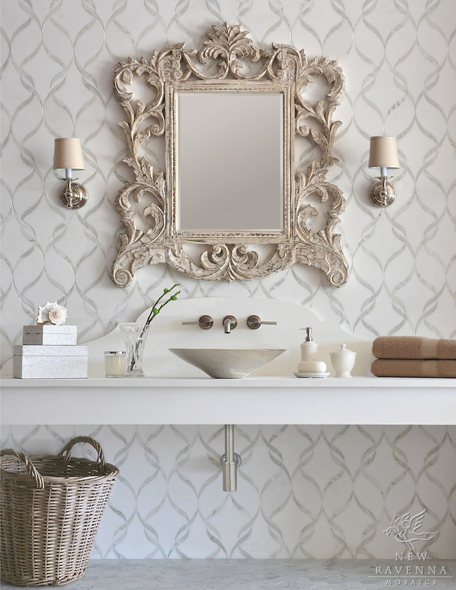 Mirror Borders For Bathroom Mirrors The Peak Of Très Chic Not Your Grandma 39;s Tile Bathroom
