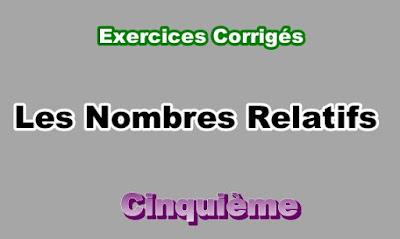 Exercices Corrigés de Nombres Relatifs 5eme en PDF