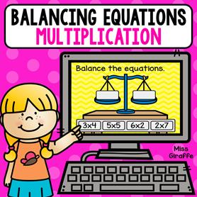 Balancing multiplication equations game for kids