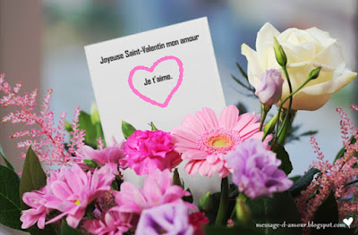 Carte de fleurs '' Joyeuse St-Valentin''