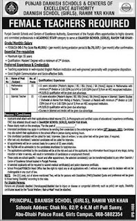 Punjab Daanish School Jobs 2020 Advertisement for Teaching Staff