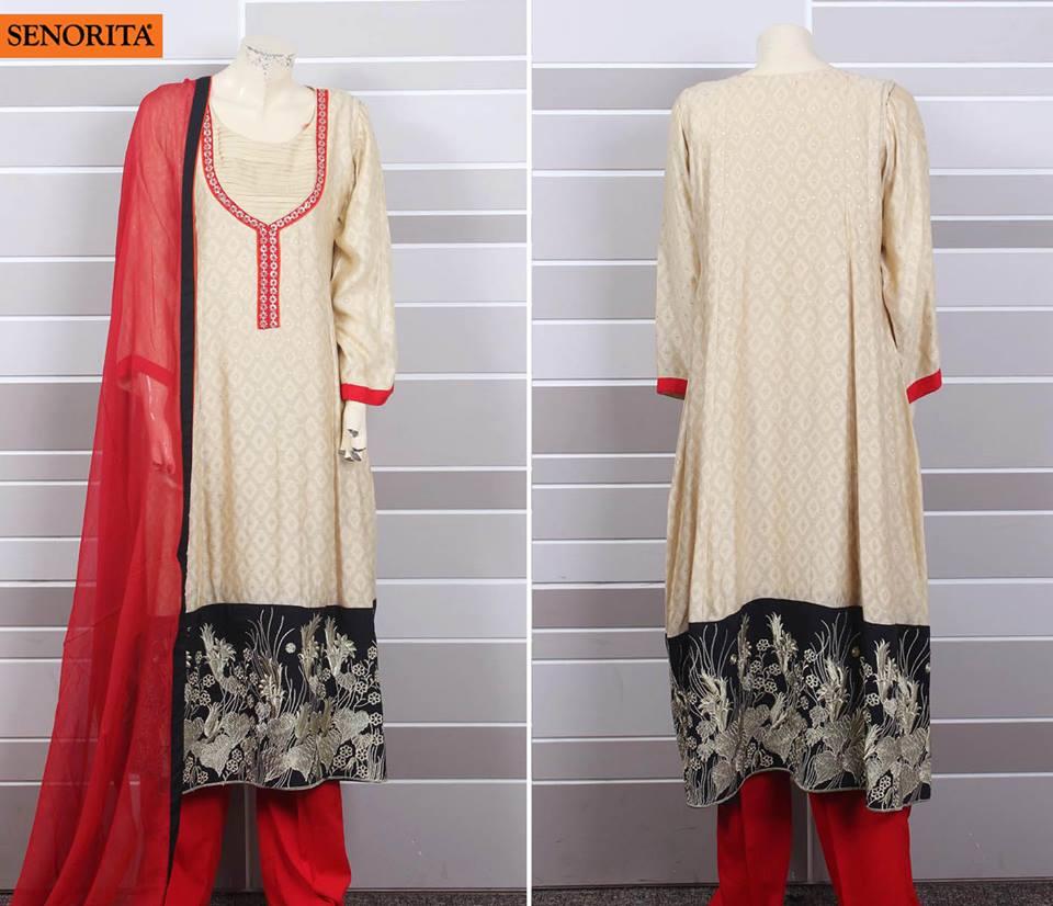 Shirt design for girl 2015 - Eid Collection For Pakistani Girls Shalwar Kameez Designs For Pakistani Girls 2015 2016 By Senorita
