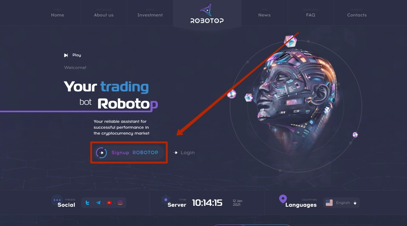 Регистрация в Robotop
