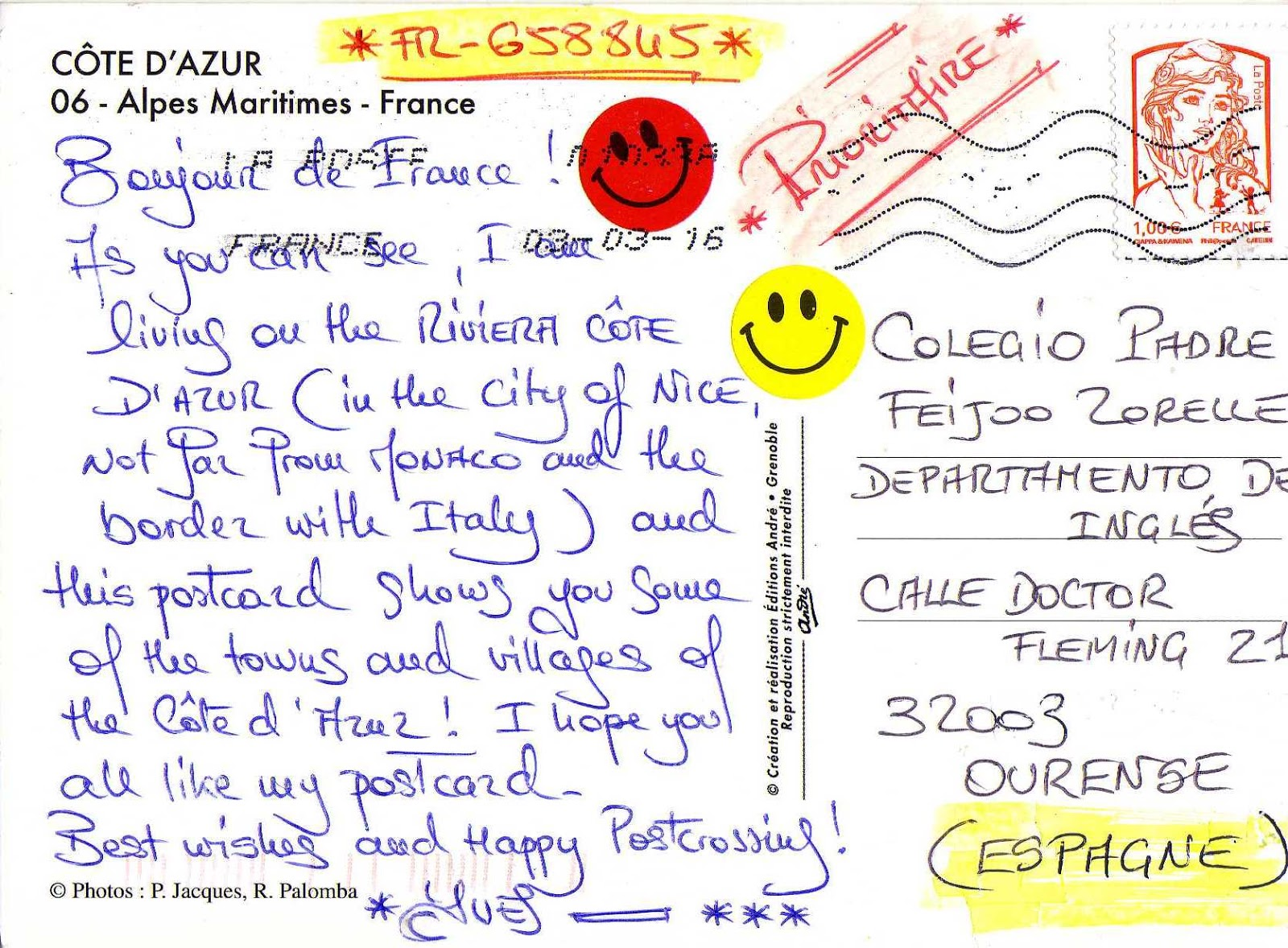 Www Jolie Carte Com From Ourense To The World Postcrossing At Padre Feijoo Zorelle