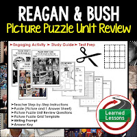 American History Picture Puzzles are great for TEST PREP, UNIT REVIEWS, TEST REVIEWS, and STUDY GUIDES, Reagan and Bush