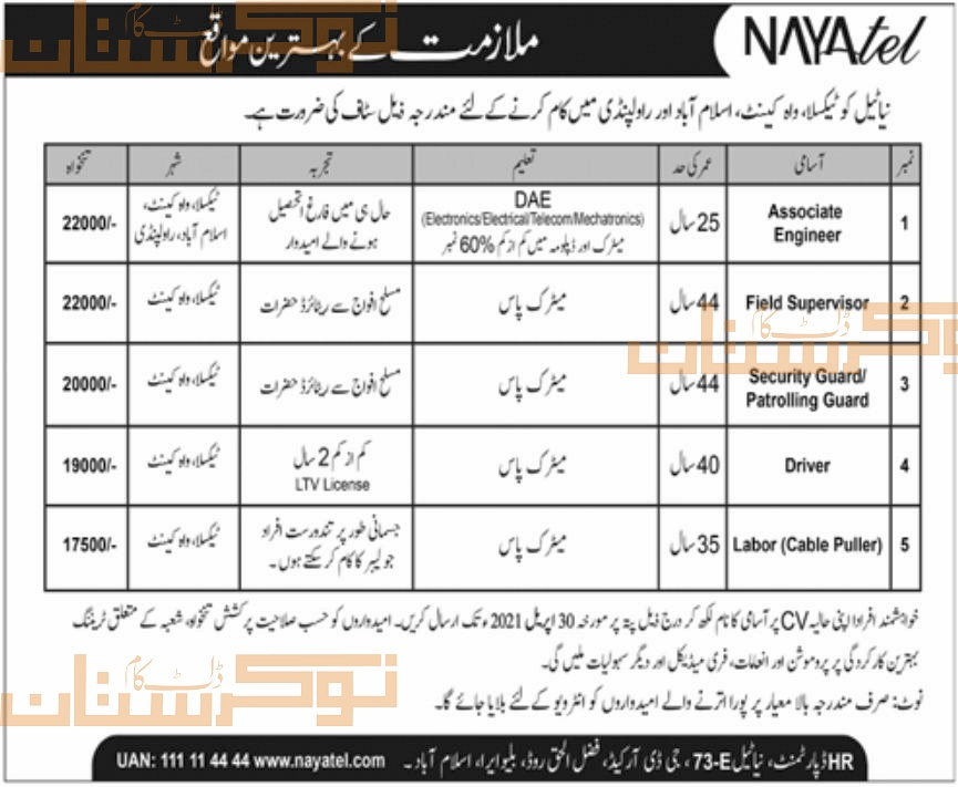 private,nayatel,associate engineer, field supervisor, security guard, patrolling guard, driver, cable puller,latest jobs,last date,requirements,application form,how to apply, jobs 2021,