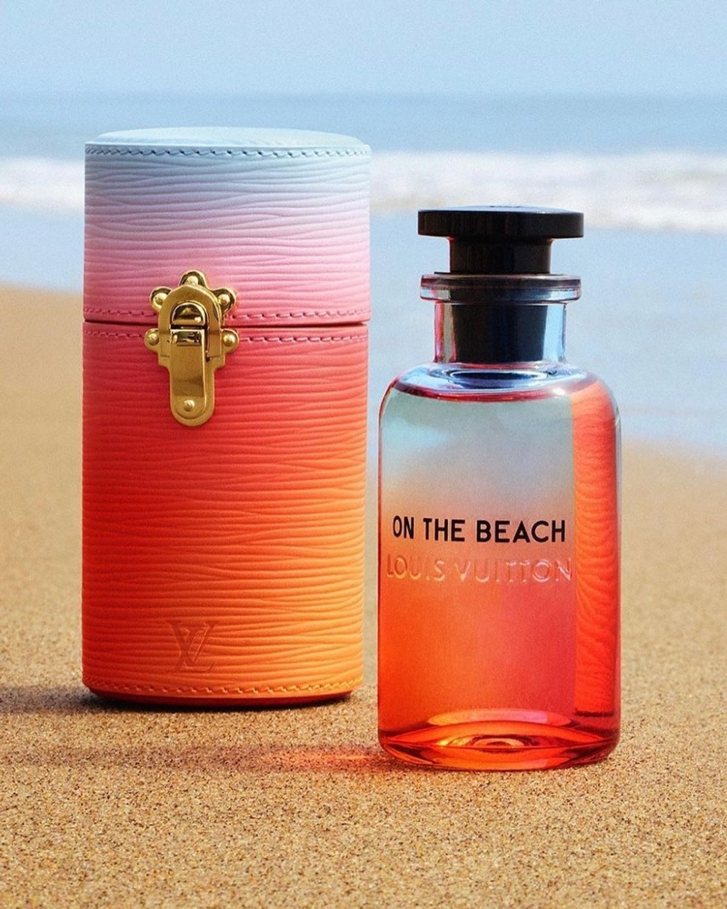 Louis Vuitton's On the Beach fragrance bottle and travel case