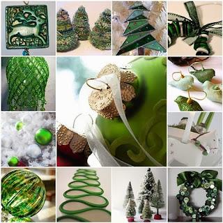 Decoración navideña verde blanco